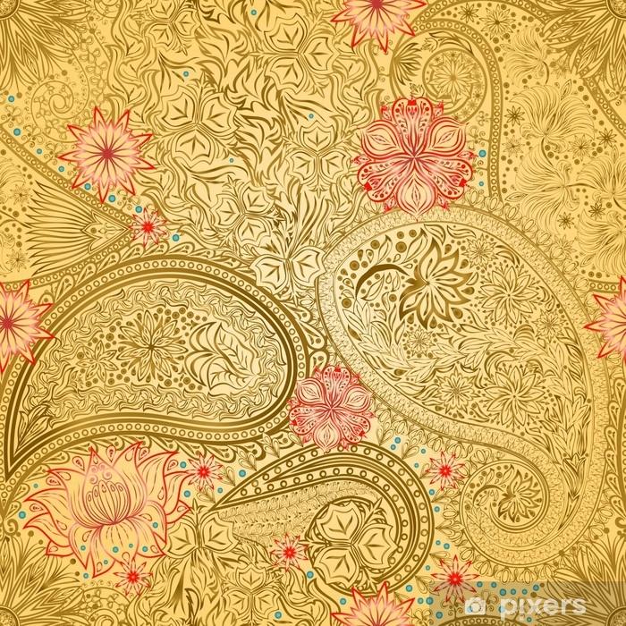 Papier peint vinyle Arrière-plan transparent ethnique de motif floral vintage. - Ressources graphiques
