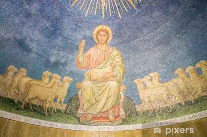 A mosaic of Jesus Christ the Good Shepherd with sheep, in the apse Pixerstick Sticker - Culture and Religion