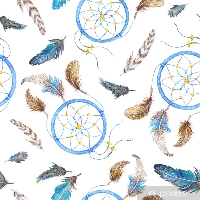 Boho Pattern with Feathers and Dreamcatcher Vinyl Wall Mural - Art and Creation