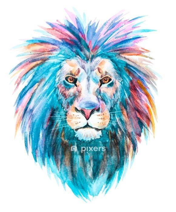 Duvar Çıkartması Suluboya vektör aslan -
