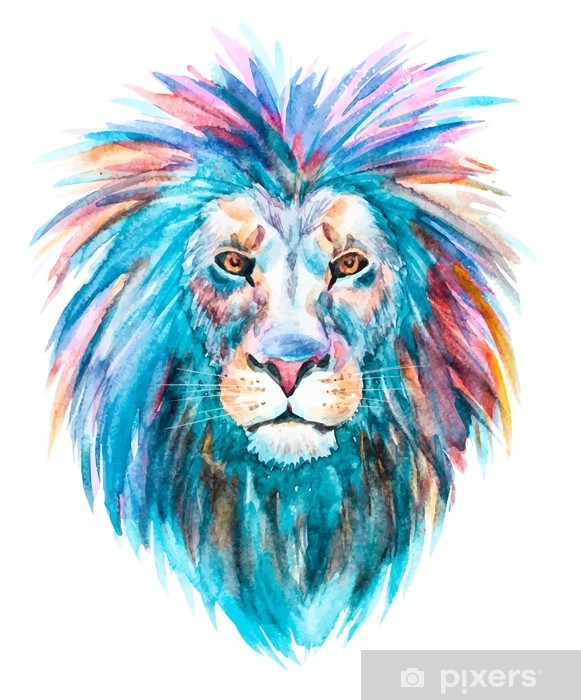 Sticker Pixerstick Aquarelle vecteur lion -