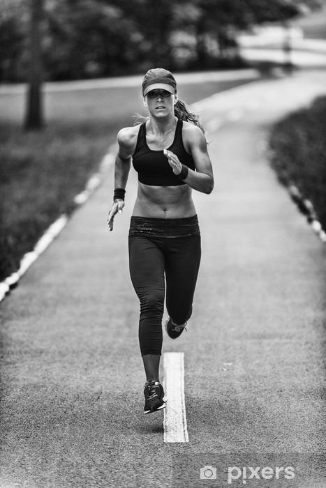 Fototapeta winylowa Jogging kobieta w czerni i bieli - Styl życia