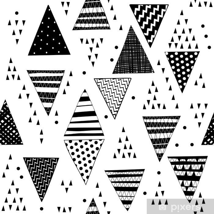 Seamless pattern with decorative hand-drawn triangles. Pixerstick Sticker - Graphic Resources