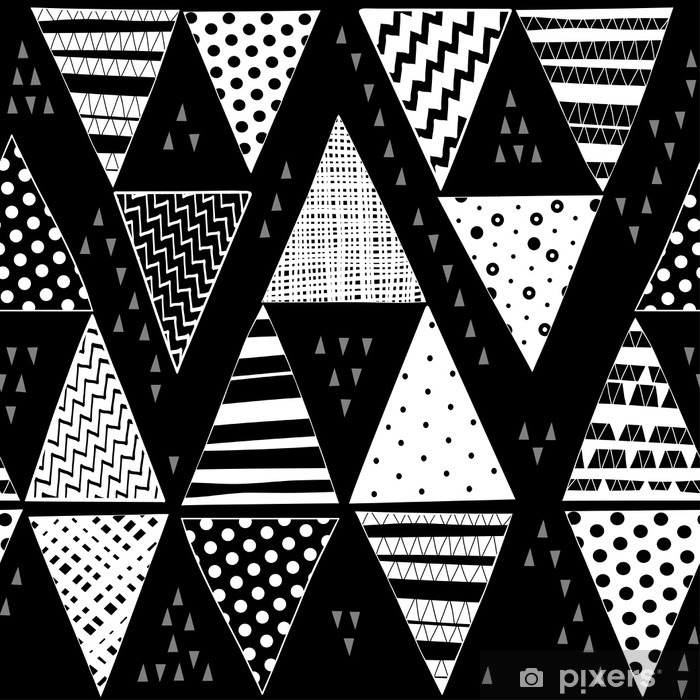 Black and white vector seamless pattern with hand-drawn decorative triangles. Pixerstick Sticker - Graphic Resources
