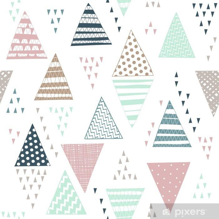 Papier peint vinyle Seamless avec des triangles dessinés à la main décoratifs. - Ressources graphiques