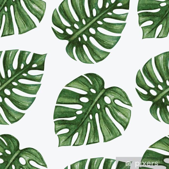 Fotomural Estándar Watercolor tropical palm leaves seamless pattern. Vector illustration. - Fondos