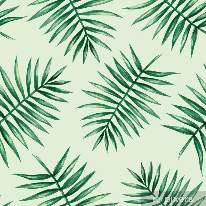 Akvarel tropisk palme efterlader sømløs mønster. Vektor illustration. Vinyl fototapet - Grafiske Ressourcer