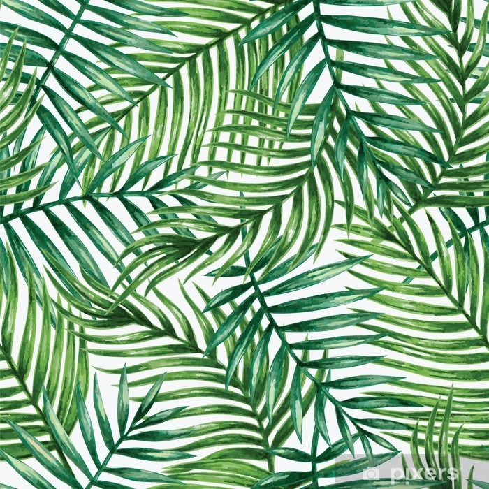 Fototapet av Vinyl Watercolor tropical palm leaves seamless pattern. Vector illustration. - Bakgrunder