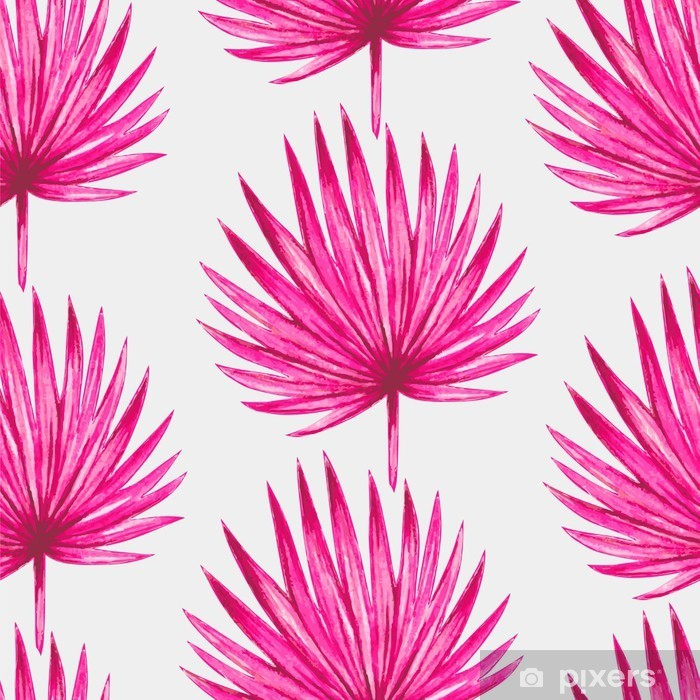 Watercolor tropical pink palm leaves seamless pattern. Vector illustration. Pixerstick Sticker - Canvas Prints Sold