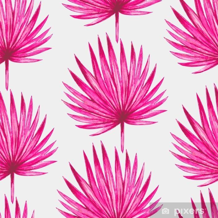 Pixerstick Sticker Waterverf het tropische roze palmbladeren naadloos patroon. Vector illustratie. - Canvas Prints Sold