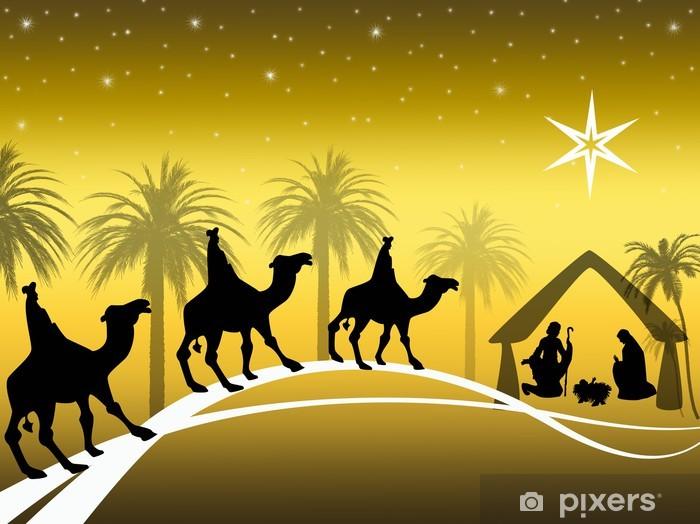 Naklejka Pixerstick Złoty Nativity - Święta międzynarodowe
