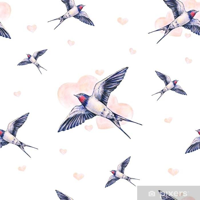 Fototapeta winylowa Piękna jaskółka na białym tle. akwarela ilustracja. wiosenny ptak przynosi miłość. Praca ręczna. wzór - Zwierzęta