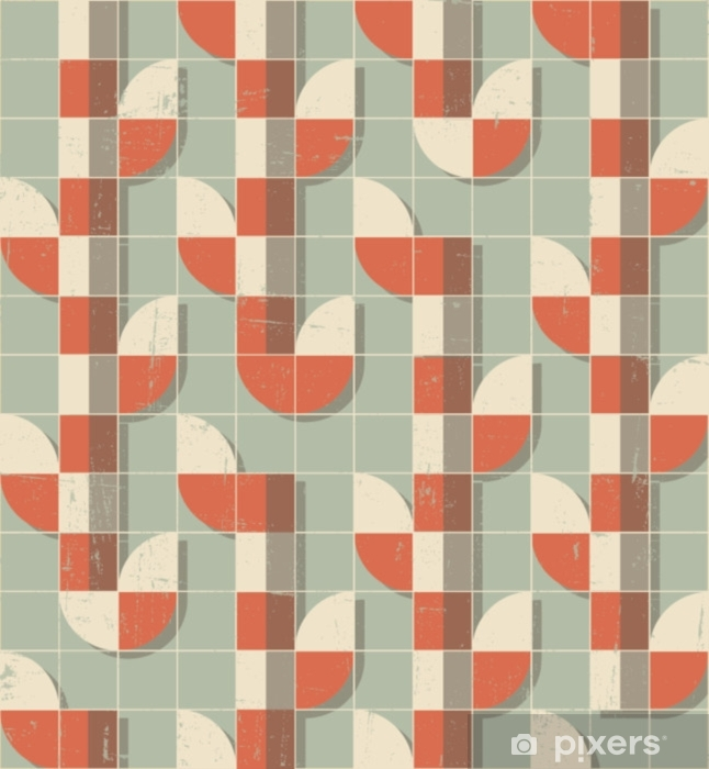 Sticker Pixerstick Motif géométrique sans soudure rétro vecteur coloré abstrait - Ressources graphiques