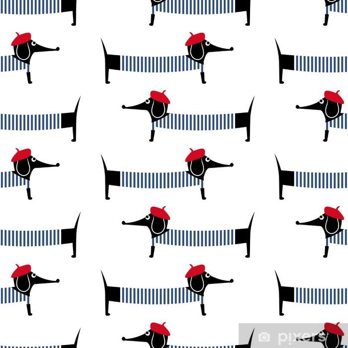 Vinyl Fotobehang Franse stijl hond naadloos patroon. Leuke cartoon Parijse teckel vector illustratie. Child tekenstijl puppy achtergrond. Franse stijl gekleed hond met rode baret en een gestreepte jurk. - Zoogdieren