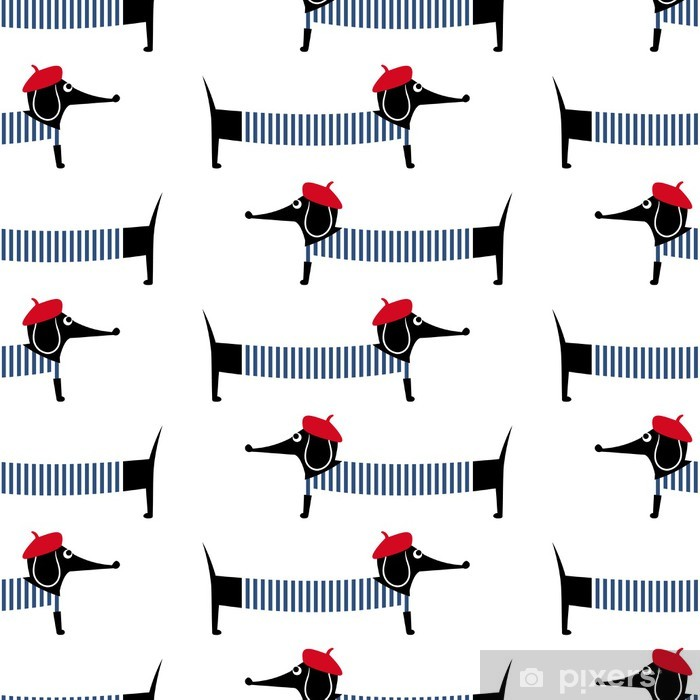 French style dog seamless pattern. Cute cartoon parisian dachshund vector illustration. Child drawing style puppy background. French style dressed dog with red beret and striped frock. Vinyl Wall Mural - Mammals