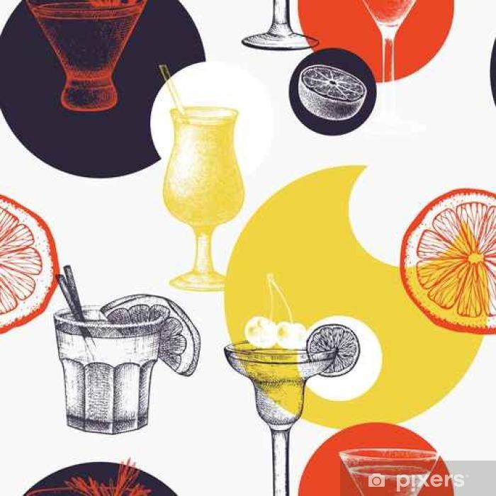 Fototapeta winylowa Wektor wzór z rocznika koktajle alkoholowe szkicu. Tusz ręcznie rysowane tła napoje i składniki do baru lub restauracji menu - Napoje