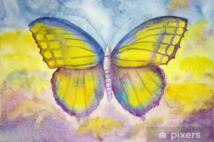 Fototapeta winylowa Żółty i niebieski motyl. technika dabbingu daje efekt miękkiego ogniskowania ze względu na zmienioną szorstkość powierzchni papieru. - Zwierzęta