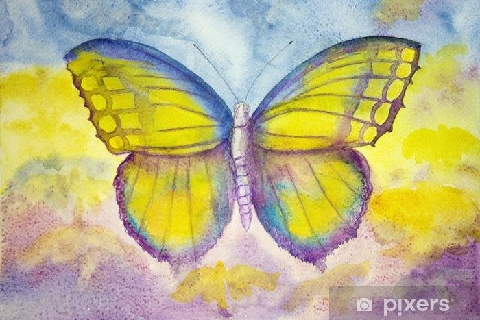 Sticker Pixerstick Papillon jaune et bleu. la technique de tamponnage donne un effet de flou dû à la modification de la rugosité de la surface du papier. - Animaux