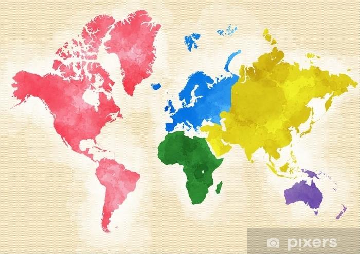 Cartina Mondo Immagini.Cartina Mondo Disegnata Illustrata Pennellate Divisione Per Continenti Wall Mural Pixers We Live To Change