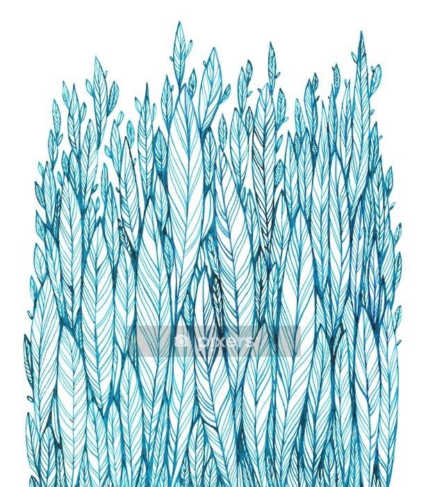 Muursticker Patroon van blauwe bladeren, gras, veren, waterverf inkttekening - Bloemen en Planten