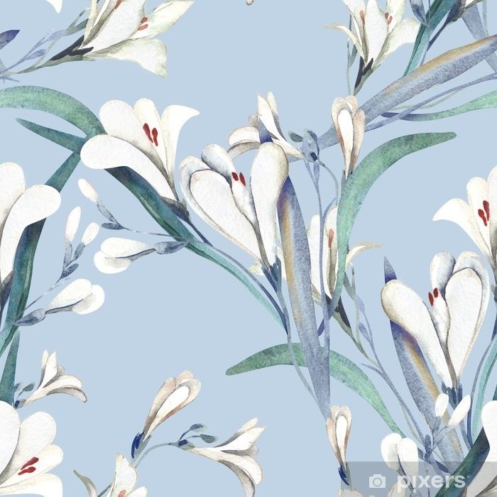 Seamless Pattern with Crocosmia Flowers Vinyl Wall Mural - Plants and Flowers