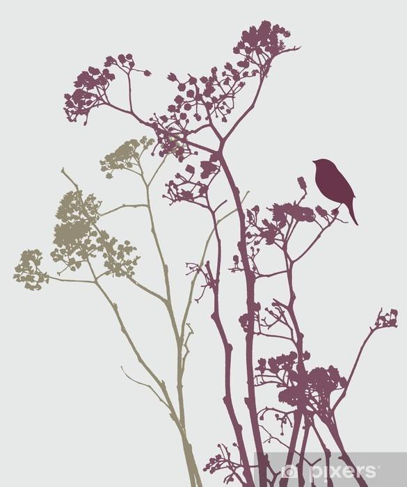 Fugl på eng blomster Pixerstick klistermærke - Planter og Blomster
