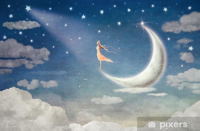 Papier peint vinyle Fille sur la lune admire le ciel nocturne - illustration art - Émotions et sentiments