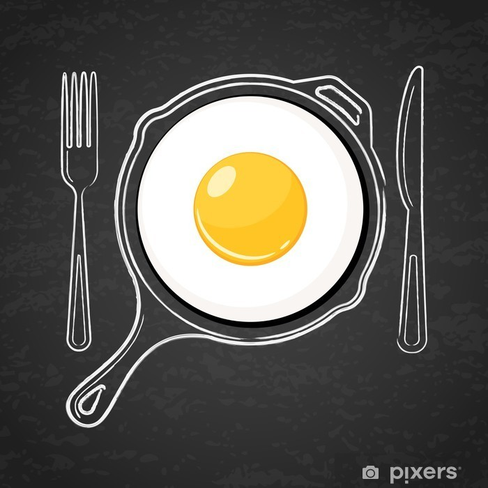 Vinyl Fotobehang Gebakken ei en met de hand getekende omtrek aquarel pan, vork en mes - Eten