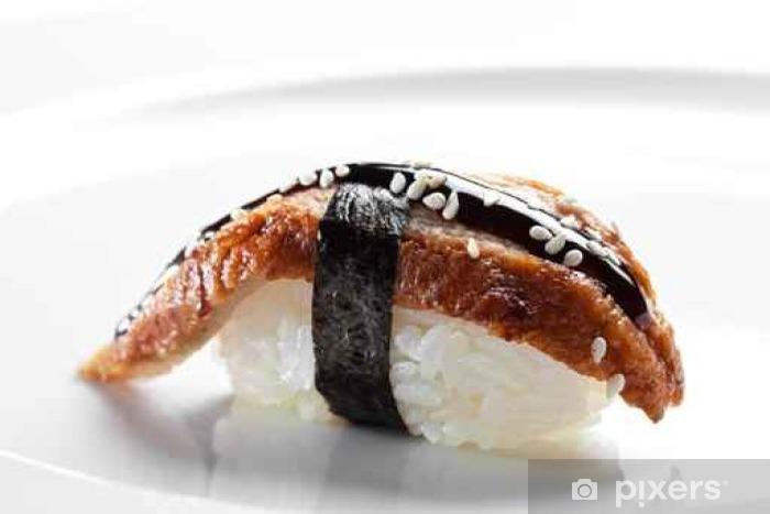 Carta da Parati in Vinile Sushi nigiri con anguilla affumicata su uno  sfondo bianco
