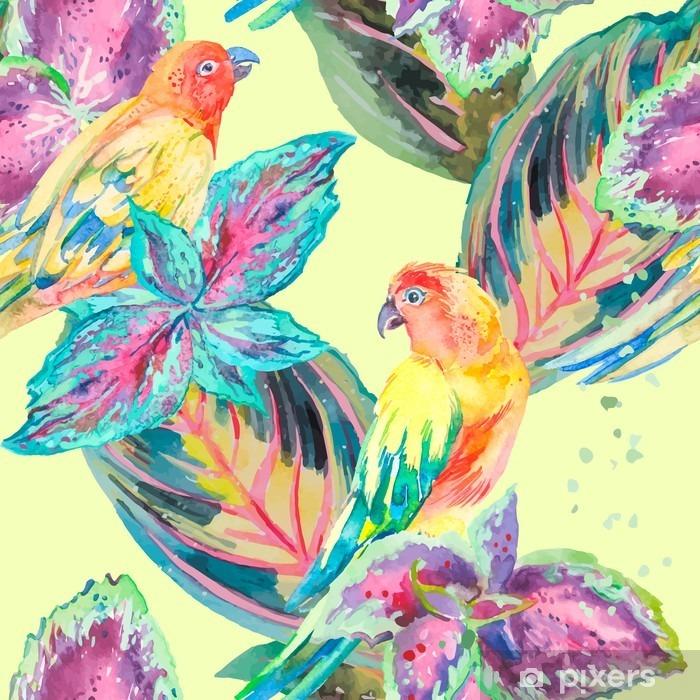 Naklejka Pixerstick Akwarela Papugi .Tropical kwiatów i liści. Egzotyczny. - Rośliny i kwiaty