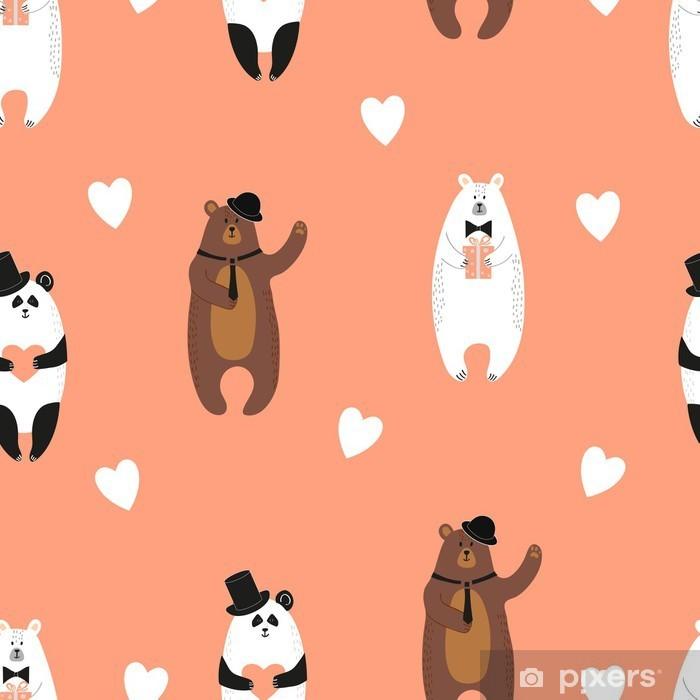 Fototapeta zmywalna Śliczne ponosi wzorca. Jednolite romantyczne tło z niedźwiedziem polarnym, brunatny i panda. - Do pokoju dziecięcego