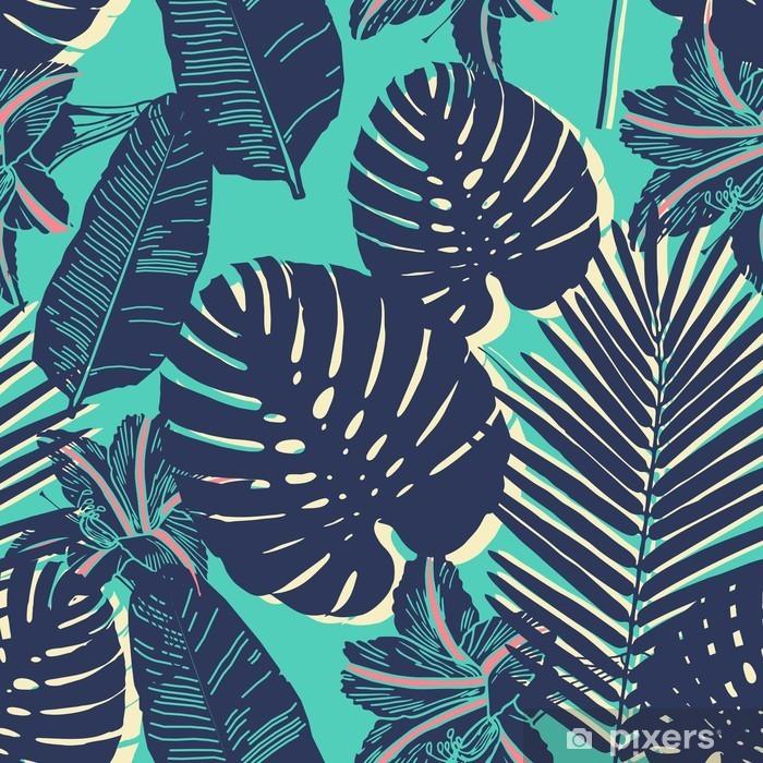 Fototapeta winylowa Tropical Palm liści bez szwu niebieski wzór -