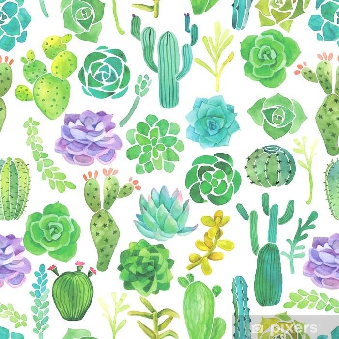 Papier Peint Cactus Aquarelle Et Modèle Sans Couture Succulent