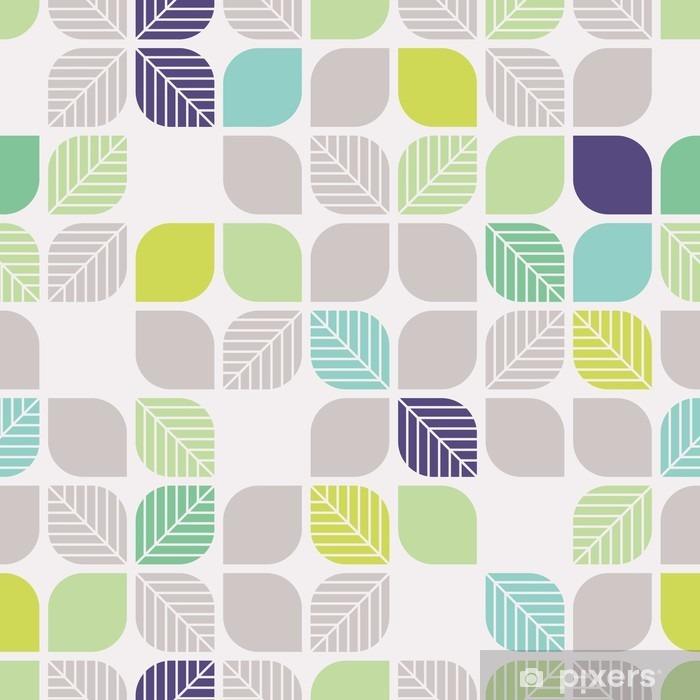 Sømløse geometriske mønster med blade Køleskab klistermærke - Grafiske Ressourcer