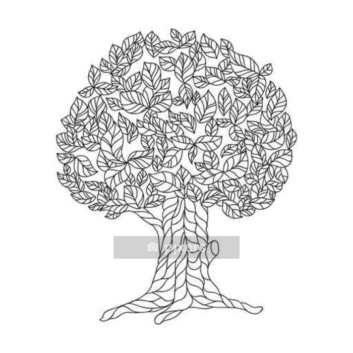 Dantel Ağacı Ile Boyama Kitabı Sayfa Duvar çıkartması Pixers