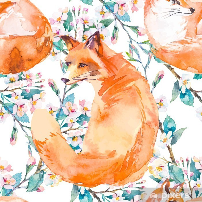 Wildlife pattern. Fox and flowering branches. . Vinyl Wall Mural - Animals