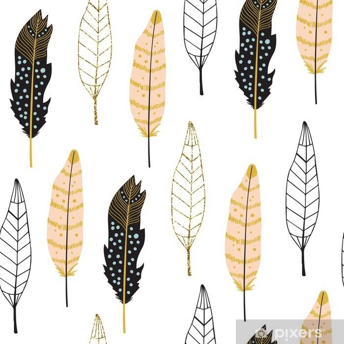 Naklejka Pixerstick Ręcznie rysowane Pióra Seamless Pattern - Zasoby graficzne
