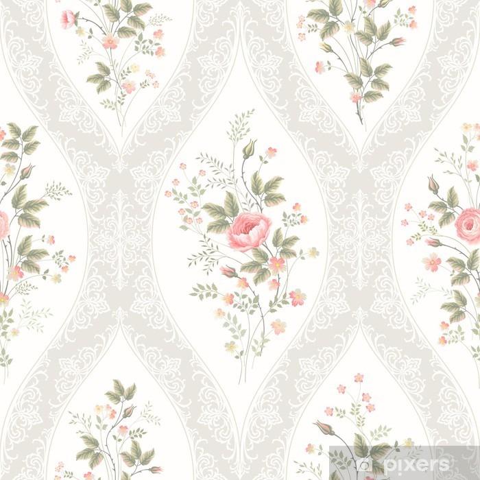 Zelfklevend Fotobehang Naadloze bloemmotief met kant en bloemenboeket - Bloemen en Planten
