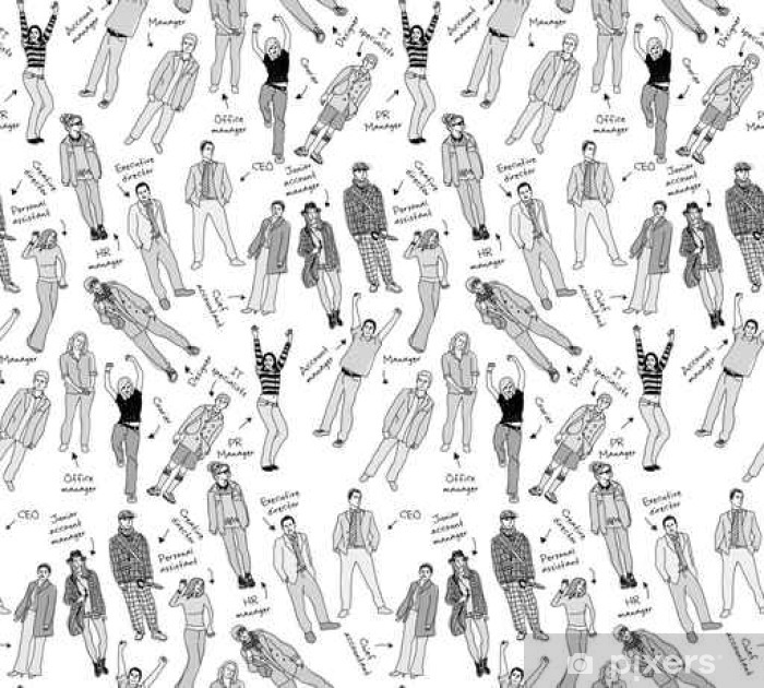 Business company team people with post gray scale seamless pattern. Poster - Graphic Resources