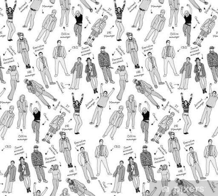 Poster L'équipe de l'entreprise d'affaires avec les gens après l'échelle de gris seamless pattern. - Ressources graphiques