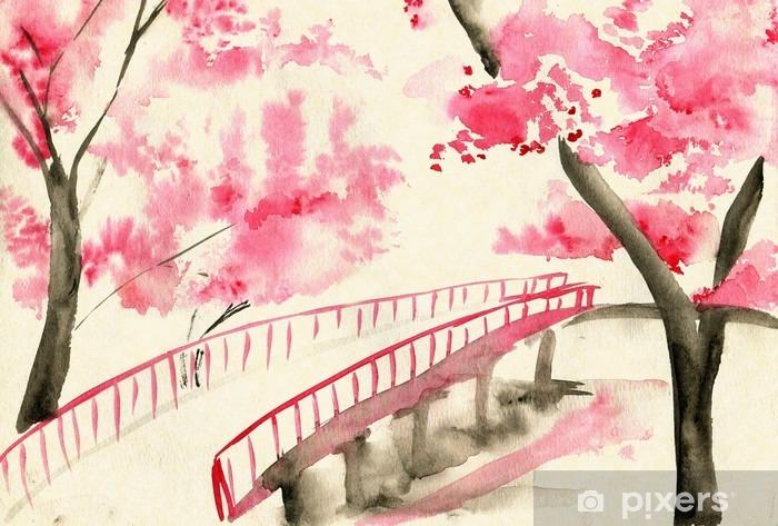 Naklejka Pixerstick Most między wiśniowych, w stylu chińskim krajobrazu - Krajobrazy