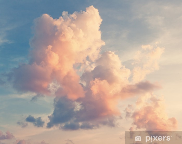 Pink clouds against a blue sky Self-Adhesive Wall Mural -