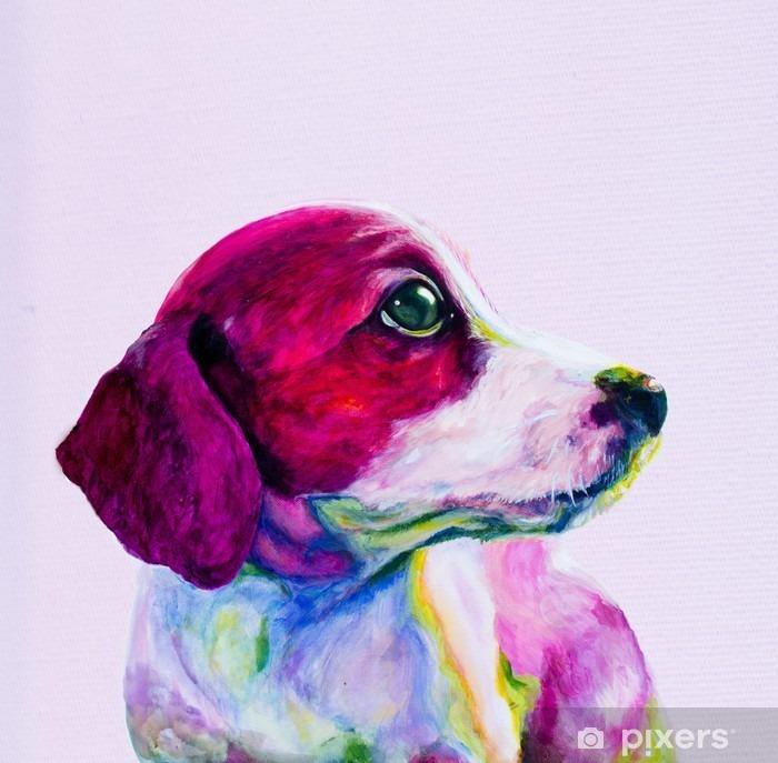 Fototapeta winylowa Buddy Portret młodego psa, szczeniaka w neonowych kolorach. Patrząc i tęsknota za uwagę - Zwierzęta