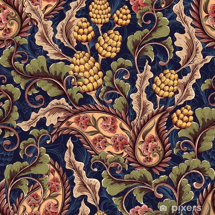 Pixerstick-klistremerke Viktoriansk sømløs mønster - Planter og Blomster