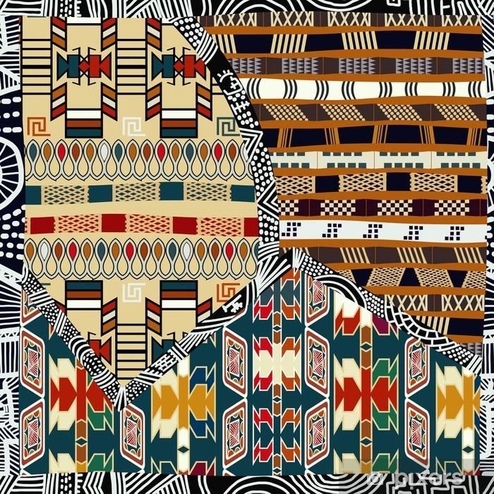 Naklejka Pixerstick Indian plemiennych kolorowych ilustracji bez szwu pattern.Vector - Zasoby graficzne