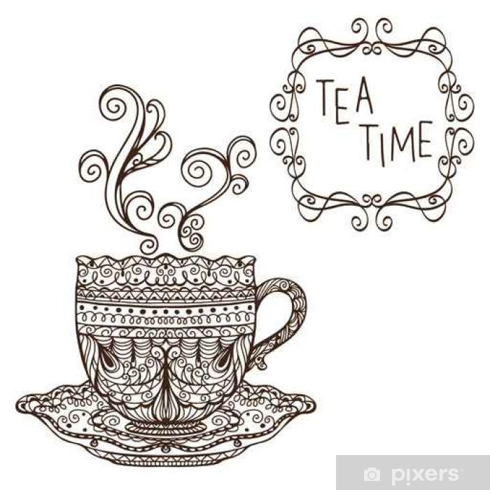 Приглашение на чаепитие открытка раскраска