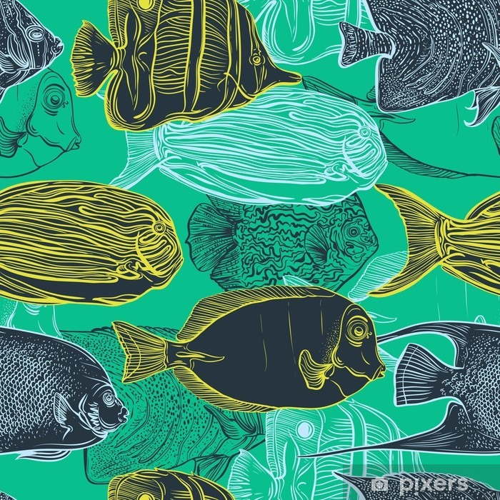 Fototapeta winylowa Jednolite wzór z kolekcji tropikalnych zestaw fish.Vintage ręcznie rysowane morskiego fauna.Vector ilustracji w linii sztuki style.Design na plaży latem, dekoracje. - Zwierzęta