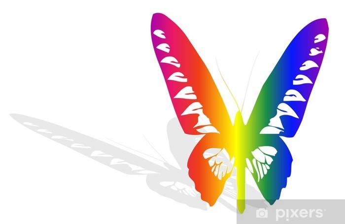 Papillon Multicolor et ombre Vinyl Wall Mural - Abstract