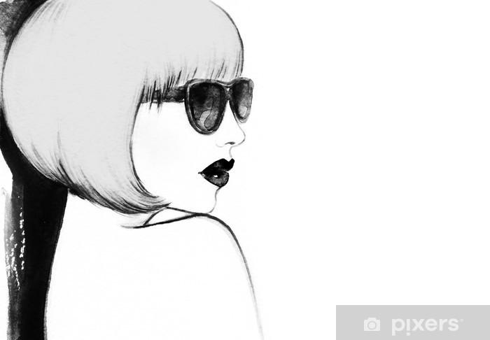 Vinyl Fotobehang Vrouw met een bril. waterverfillustratie - Mensen