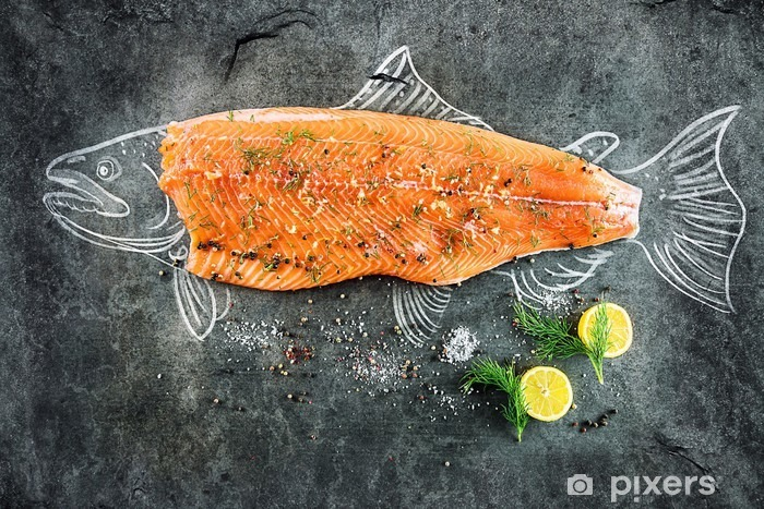 raw salmon fish steak with ingredients like lemon, pepper, sea salt and dill on black board, sketched image with chalk of salmon fish with steak Pixerstick Sticker - Food